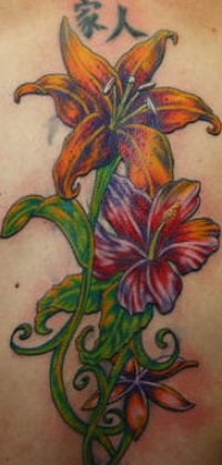 Big colored lilies vine tattoo